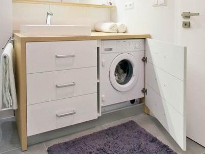Ванная в хрущевке - спрятанная стиральная машина