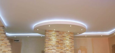 Потолок из гипсокартона в ванную двухуровневый