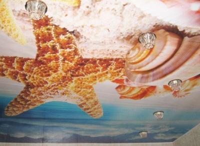 Потолок в ванной с фотопечатью - пляж