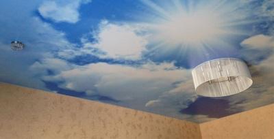 Потолок в ванной с фотопечатью - небо
