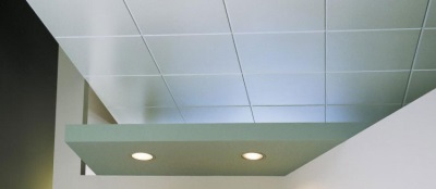 Потолок из плитки в ванной