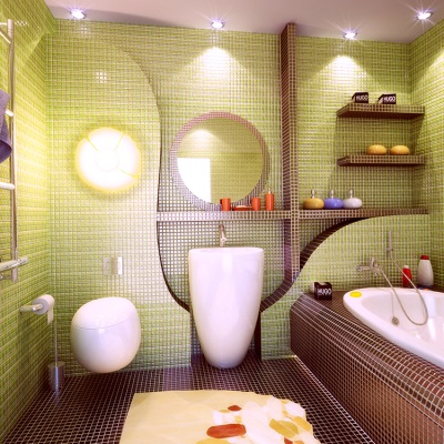 Зелено-коричневая ванная комната с плиткой