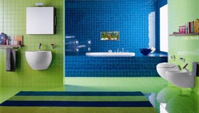 Зеленый цвет в дизайне голубой ванной