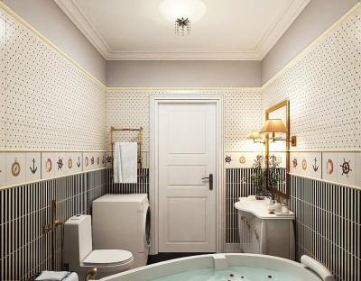 Маленькая ванная комната на морскую тематику