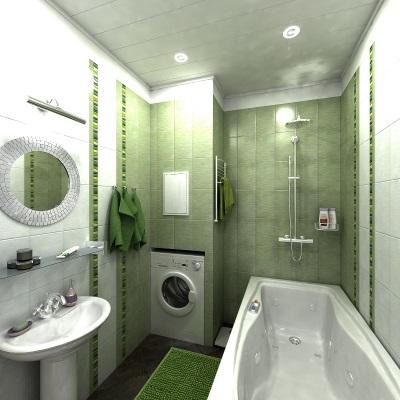 Зеленая ванная комната с металлическими аксессуарами