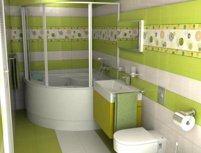 Зеленая ванная комната с узорами