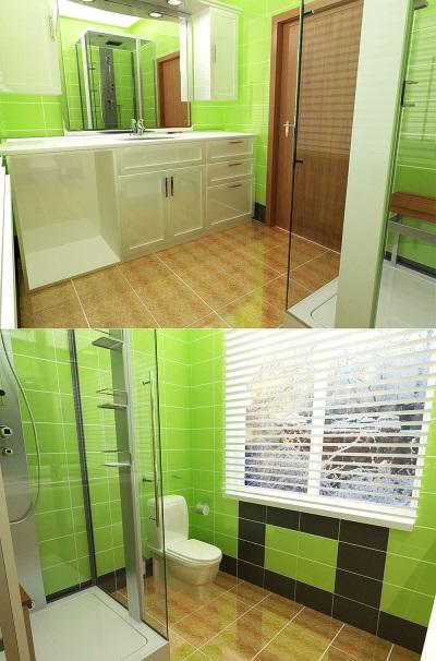 Зеленая ванная комната со стеклянной душевой