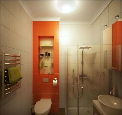 Оранжевая ванная комната матовая сантехника