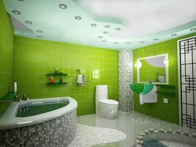 Зеленая ванная комната с освещением