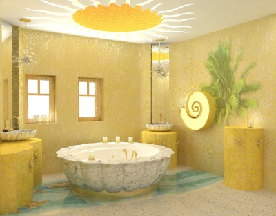 Желтая ванная комната с солнцем на потолке