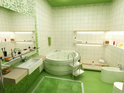 Зеленая с белым ванная комната