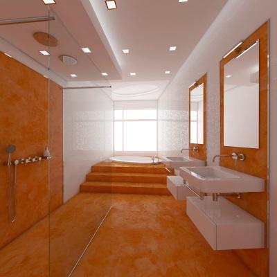 Оранжевые пол и стены в ванной комнате
