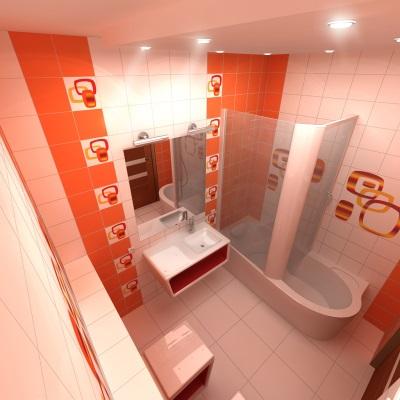 Оранжевая с узорами ванная комната