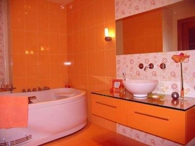 Оранжевая ванная комната освещение