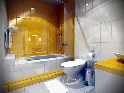 Желтая ванная комната освещение