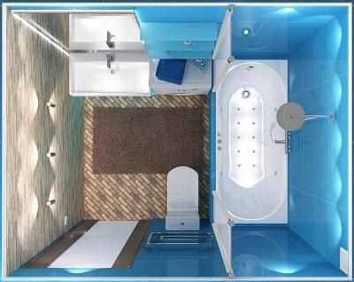 Маленькая ванная комната с освещением