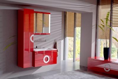 Красная мебель в ванной в стиле модерн