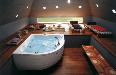 Стильная угловая ванна из акрила