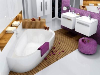 Ассиметричная чугунная ванна