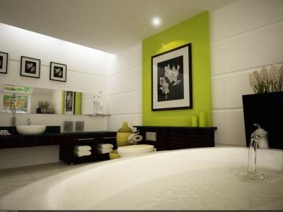 большая черно-белая ванная комната с оливковым акцентом