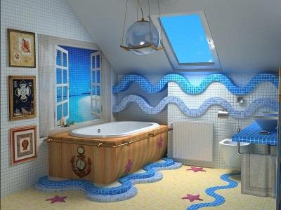 Бело-голубая ванна в морской тематике