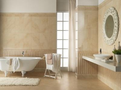 Бежевая ванная светлые стены