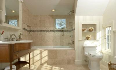 Бежевая с белым ванная
