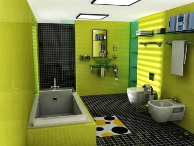 Оливковая комната с черным