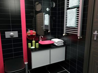 Яркие акценты в черной ванной