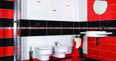Черно-бело-красная ванная