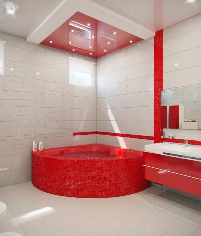 Красная ванна в ванной комнате
