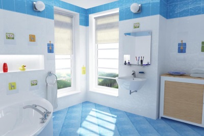 Аксессуары в голубой ванной