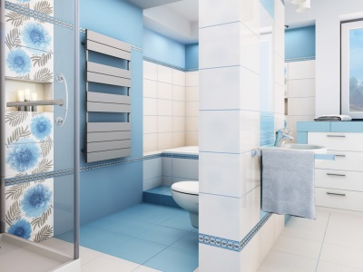 Голубо-белая ванная