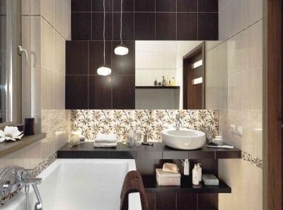Коричнево-бежевая ванная комната