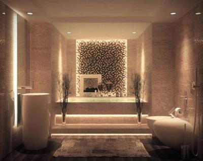 Коричневая ванная с подсветкой в стиле модерн