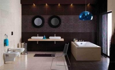 Оформление ванной комнаты в коричневом цвете