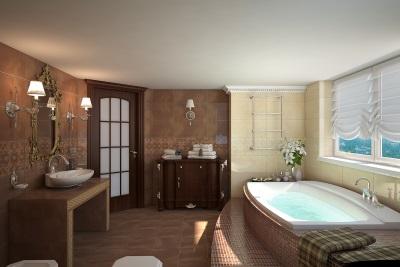 Крашенный потолок в красивой ванной