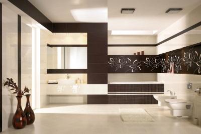 Интересное оформление ванной плиткой