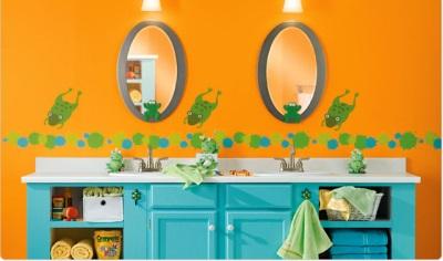 Дизайнерская оранжевая ванная