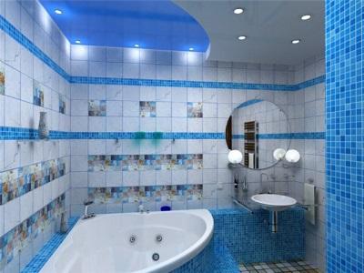 Синяя ванная со светло-голубым