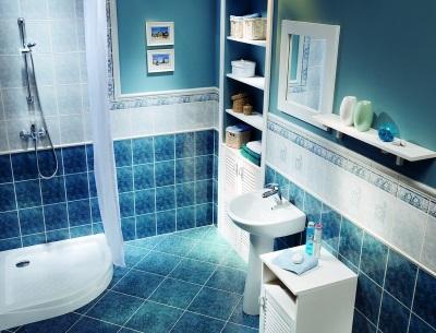 Синий с белым - ванная