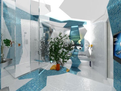 Оригинальная сине-белая ванная