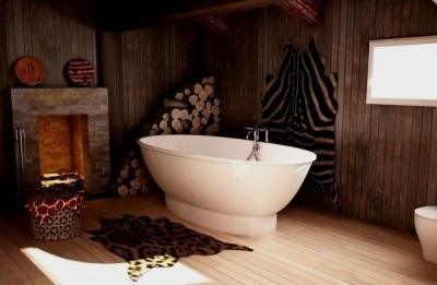ванна из искусственного мрамора в интерьере ванной комнаты