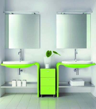 Зеленая мебель в ванной