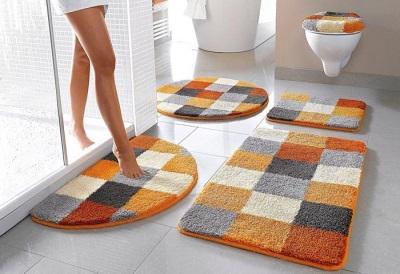 Оранжевая коллекция ковриков для ванной