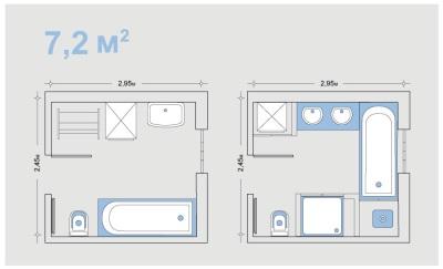 Вариант планировки ванны 7.2 кв. метров