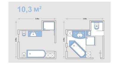 Ванная комната 10.3 кв. метра