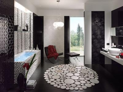 Черный цвет в оформлении ванной комнаты