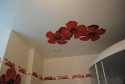 Фотопечать на натяжных потолках в ванной