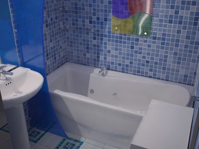 Плиточные панели в маленькой ванной под мозаичное покрытие